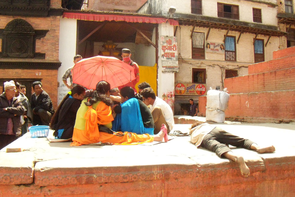 Students in Basantapur square, Kathmandu