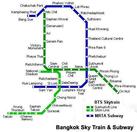 bangkok metro map MRTA Subway BTS Skytrain