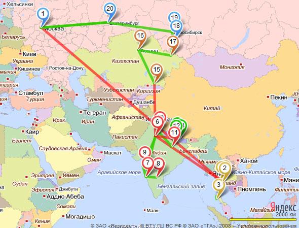 Маршрут нашего передвижения 2010-2011