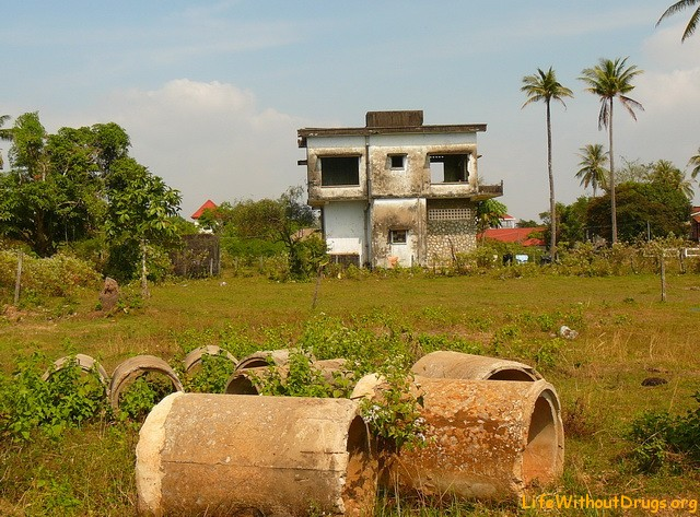 Old villa area in Kep, Cambodia