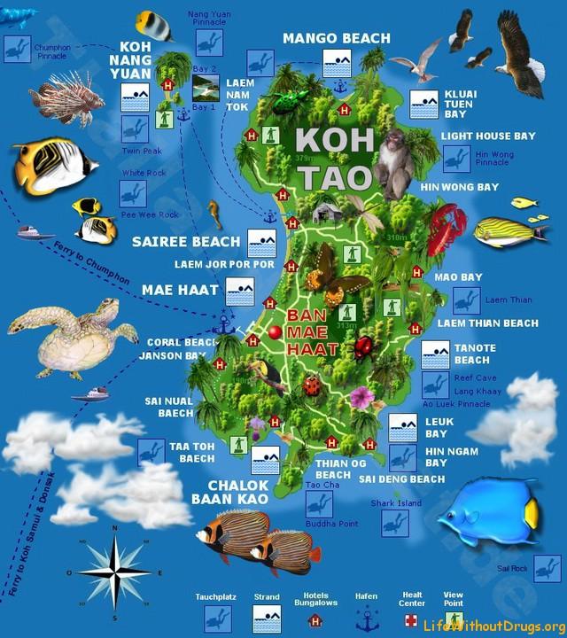 Ко Тао, Koh Tao, карта
