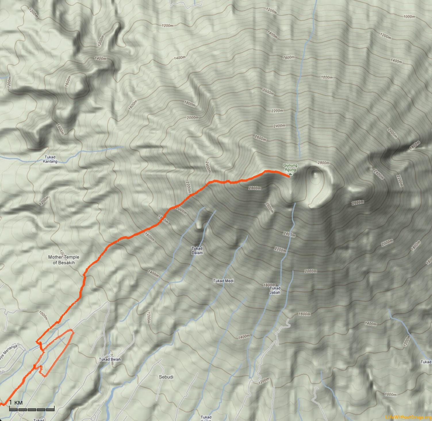 Карта маршрута восхождения на Агунг