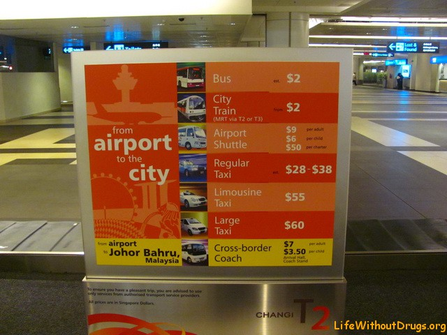 Цена на транспорт в аэропорту Сингапура