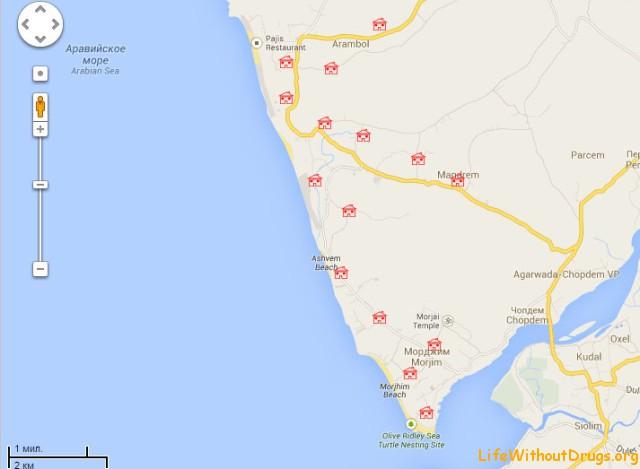 Карта Гоа - аренда домов