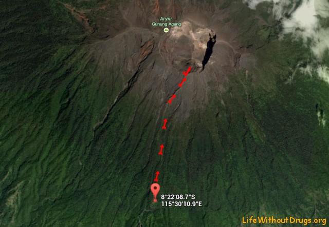 Схема восхождения на Агунг