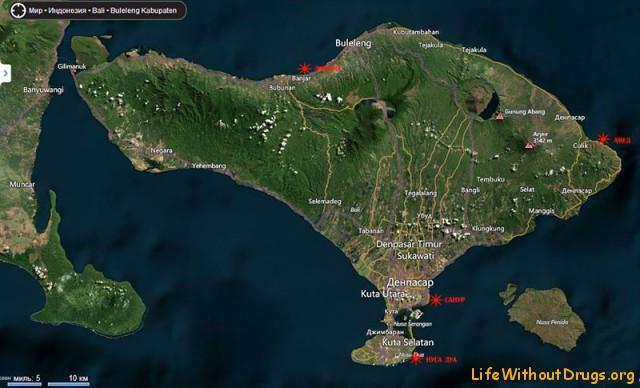 Карта самых спокойных пляжей на Бали