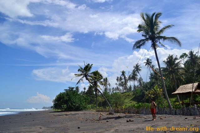 пляж с черным песком фото
