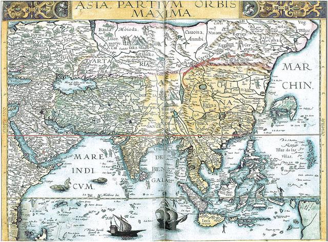 Азия. Карта 1593 года.