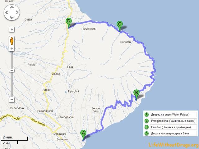 Карта дорог Бали