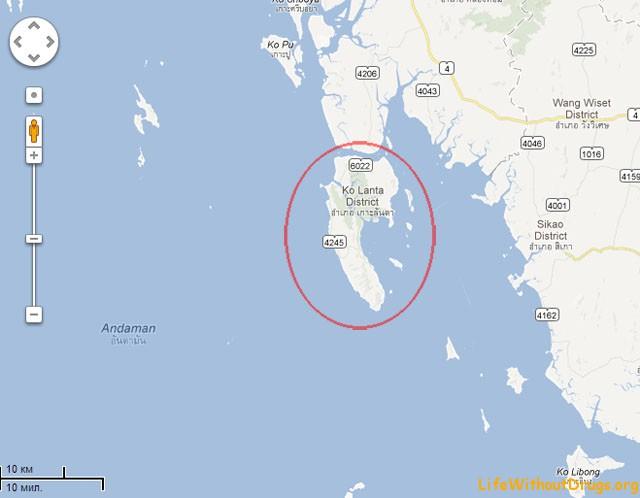 Остров Ко Ланта - карта