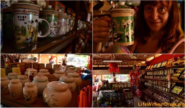 Магазинчик с зеленым чаем в китайской деревушке в Пае