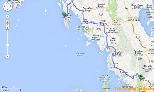 Маршрут поездки с Ко Ланта до границы с Малайзией
