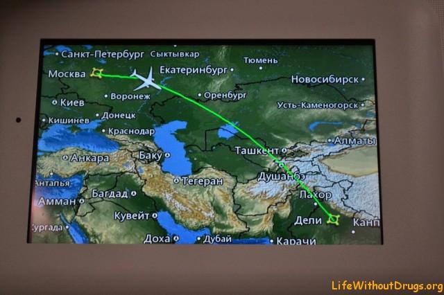схема нашего полета в Индию