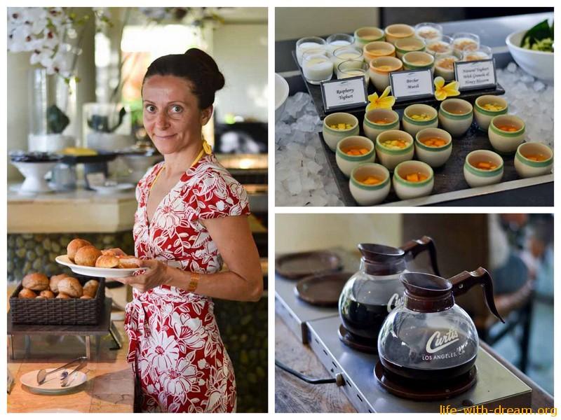 Шведский стол в отеле Grand Mirage Resort Thallaso Bali