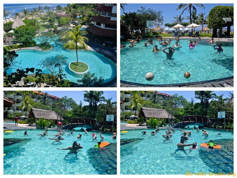 аэробика и гимнастика в бассейне Grand Mirage Resort Thallaso Bali