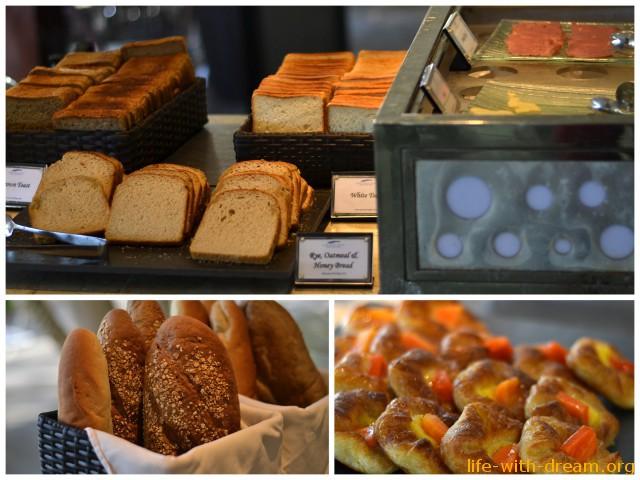 Большой выбор хлеба в отеле Grand Mirage Resort Thallaso Bali